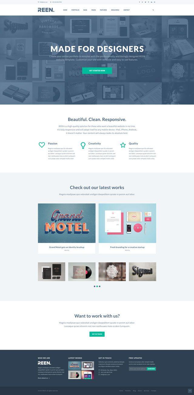 Creative Portfolio Bootstrap 3 PSD Template | freebee | Pinterest ...