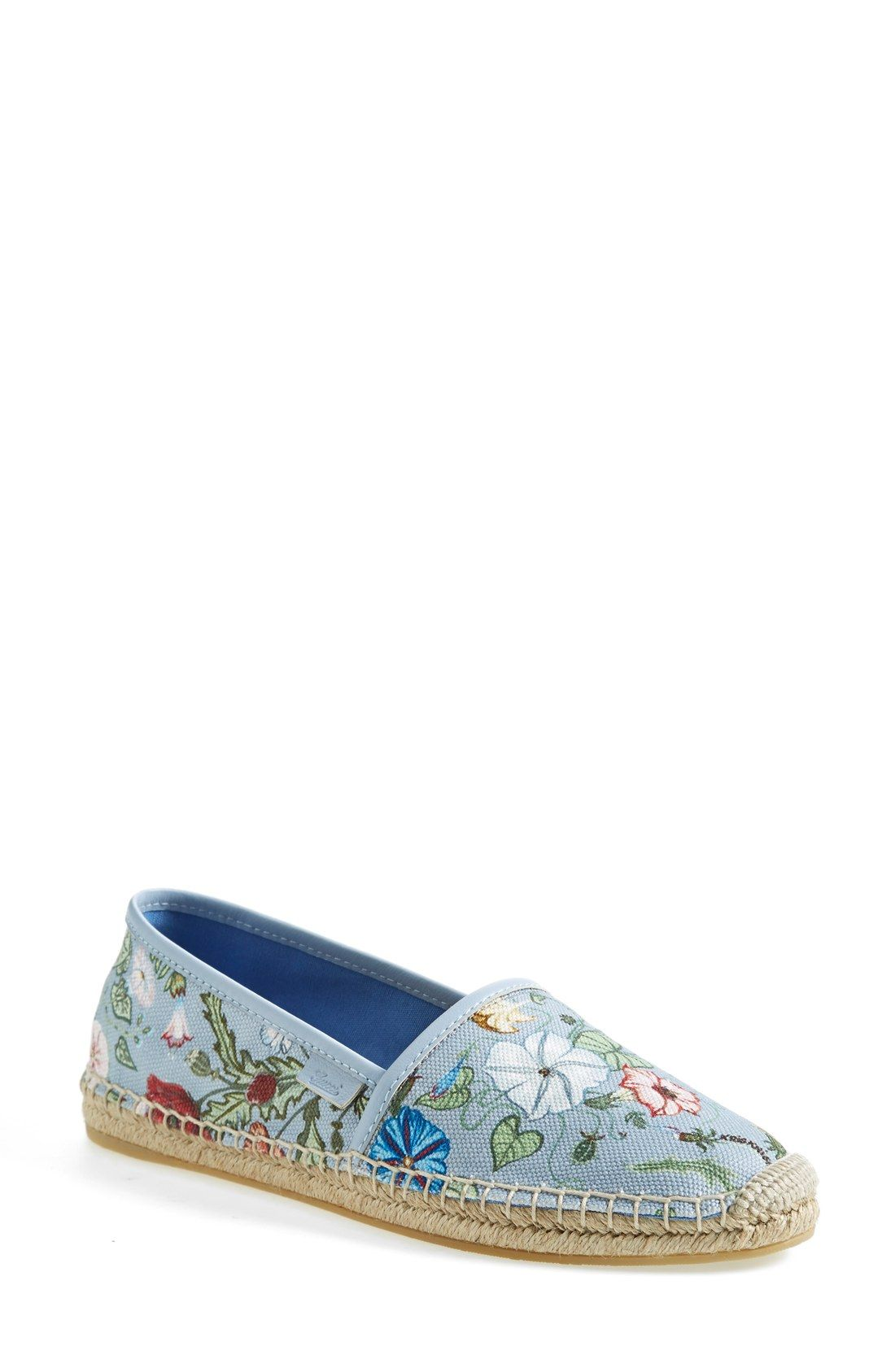362f1562444b7 Wearing these Gucci floral print espadrilles with frayed denim shorts and a  swing tank.
