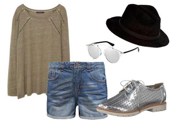 Festivaloutfit mit vielen Eyecatchern wie silberne Schuhe, Dior-Brille und Hut.