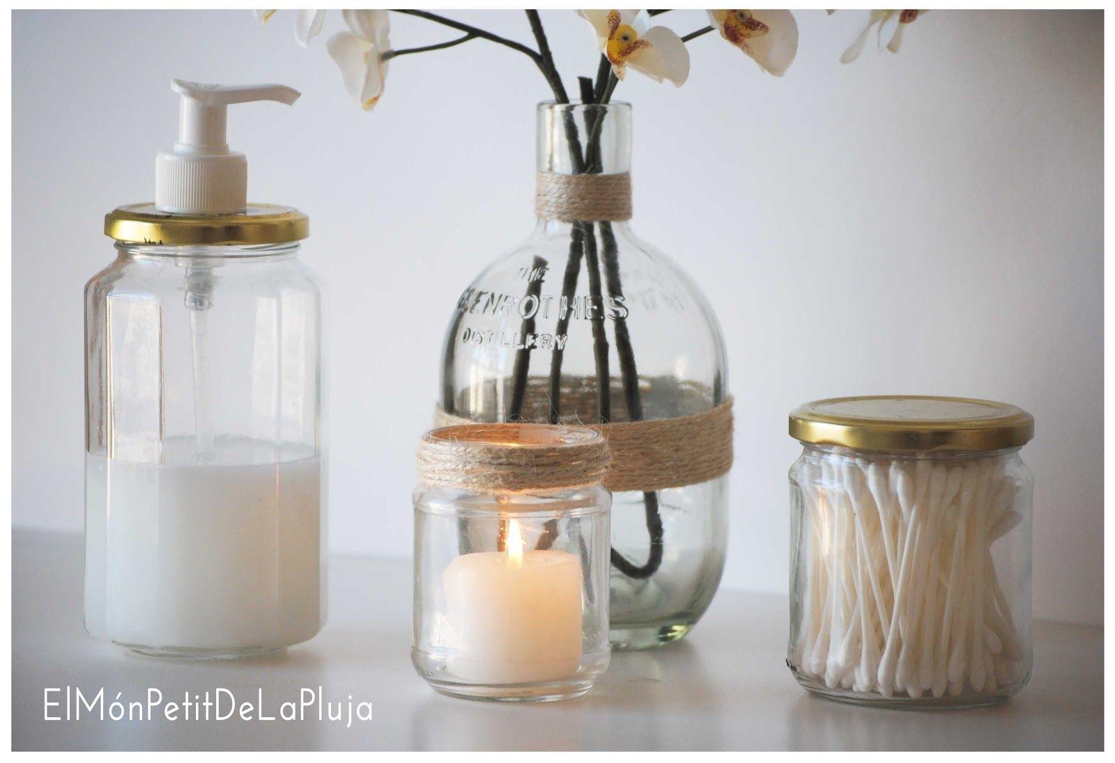 Set de ba o con tarros de cristal reciclados ideas para - Manualidades con botellas de cristal ...