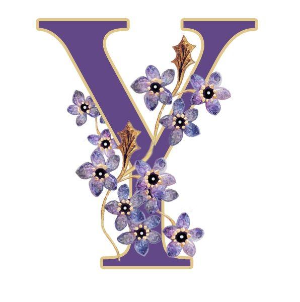 Alfabeto violeta con flores Y | alfabetos | Pinterest | Alfabeto y Flor