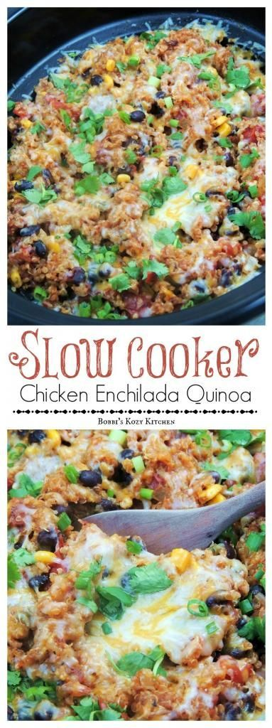 Slow Cooker Chicken Enchilada Quinoa is simple, healthy, and full of all of those Mexican flavors you crave! #SundaySupper #healthycrockpotrecipes