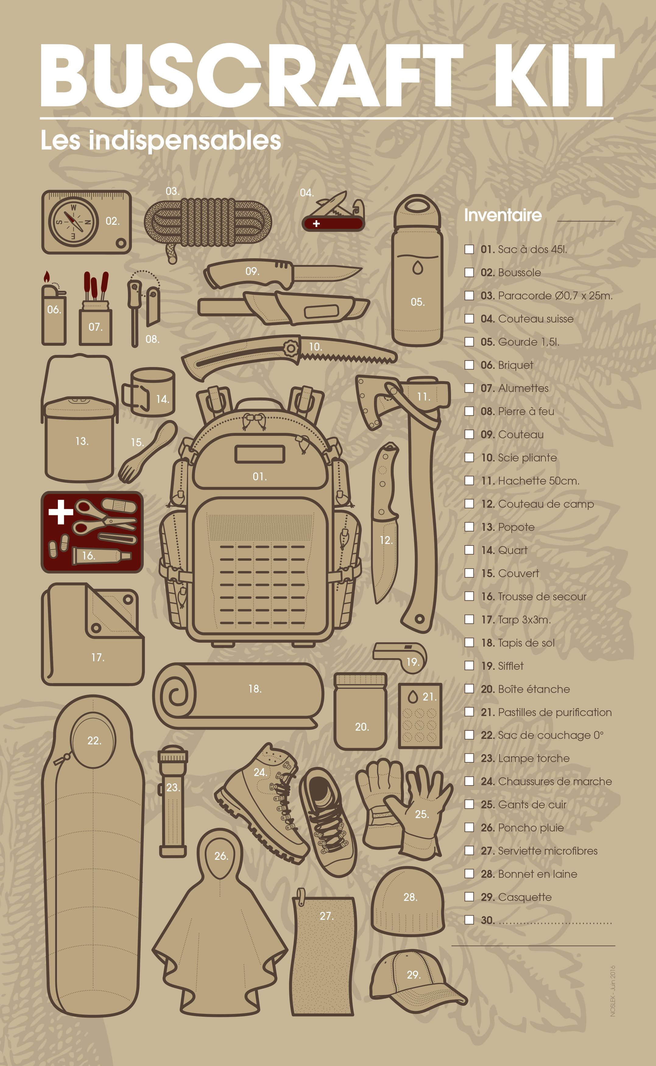 BUSHCRAFT KIT - Inventaire du matériel incontournable. #bushcraft #survie