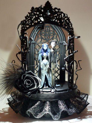Elegant Gothic Lighted Corpse Bride Wedding Cake Topper