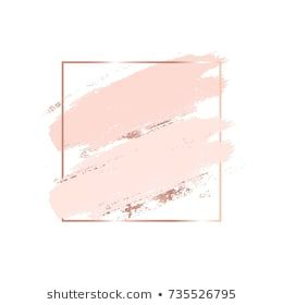 Brush strokes in gentle skin tones and rose gold square frame. Abstract vector background. #stockportfolio