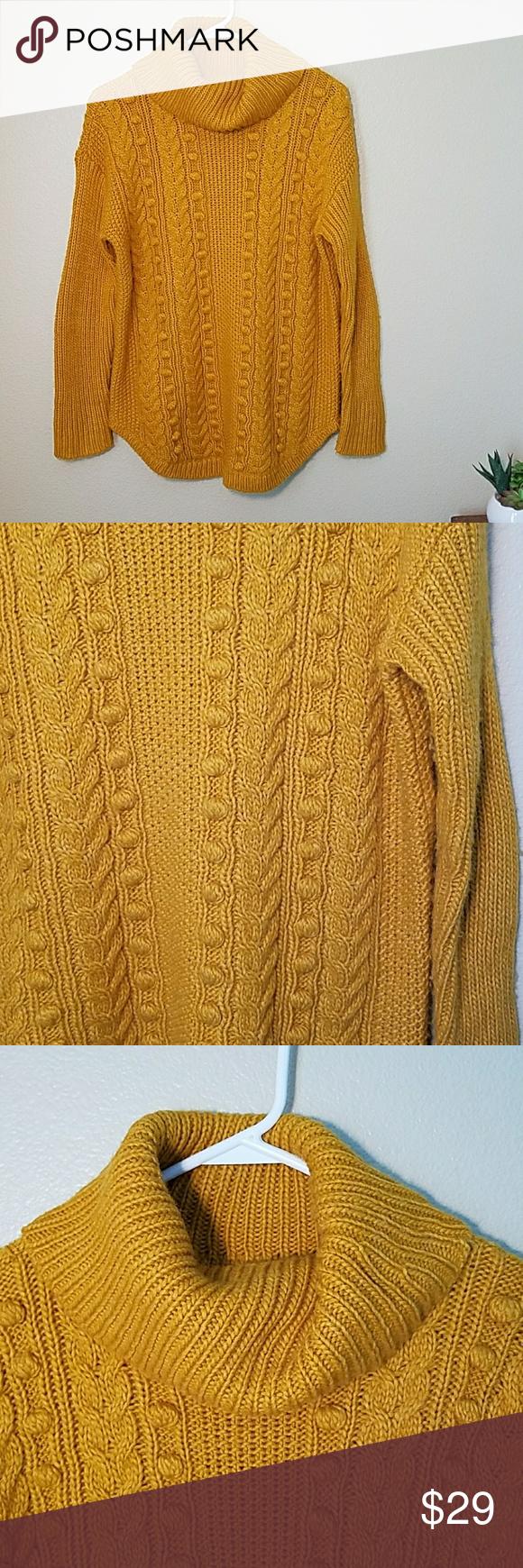 Talbots cable knit mustard yellow tunic sweater sm | Tunic sweater ...