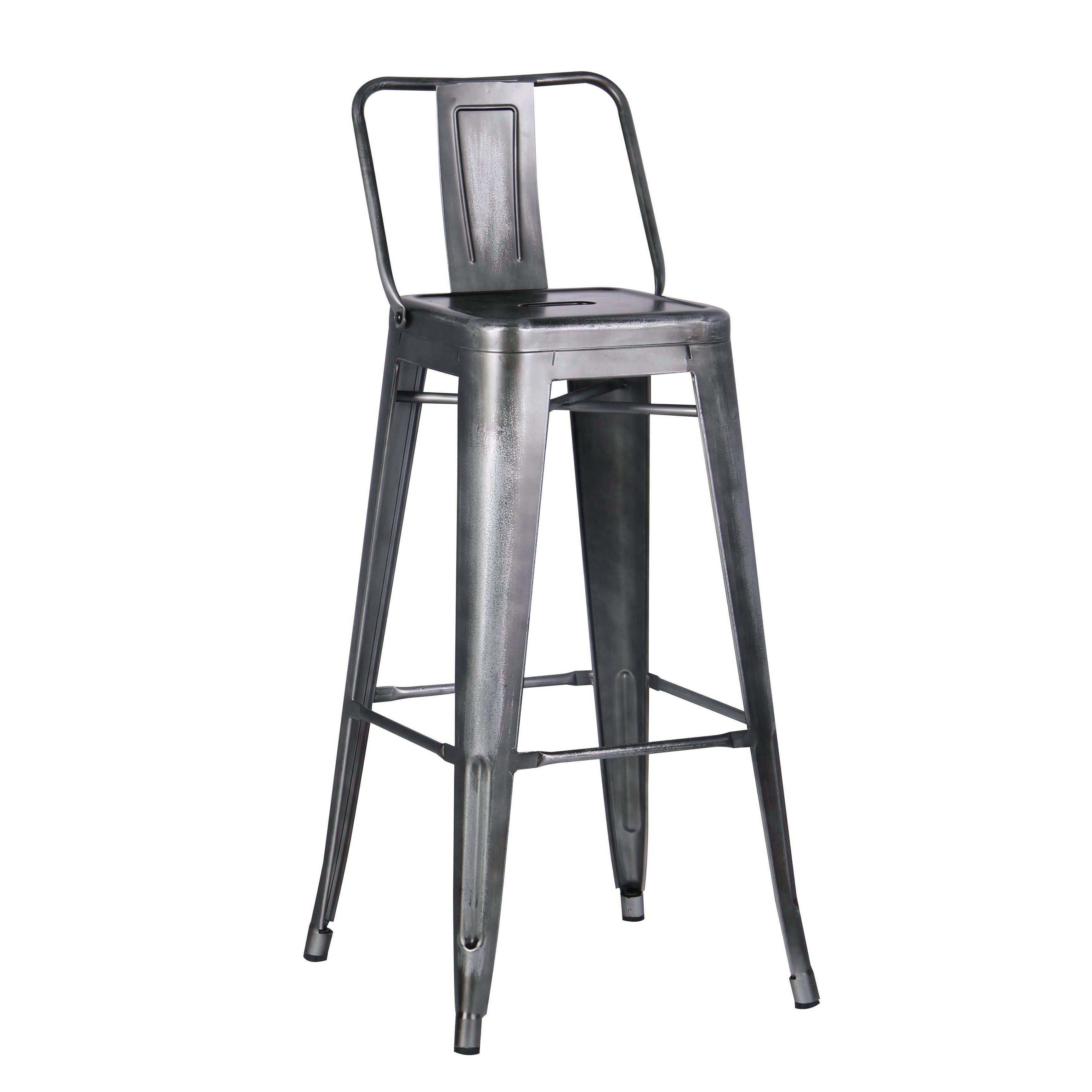 Ac Pacific Redblackgold Distressed Metal 30 Inch Barstool With