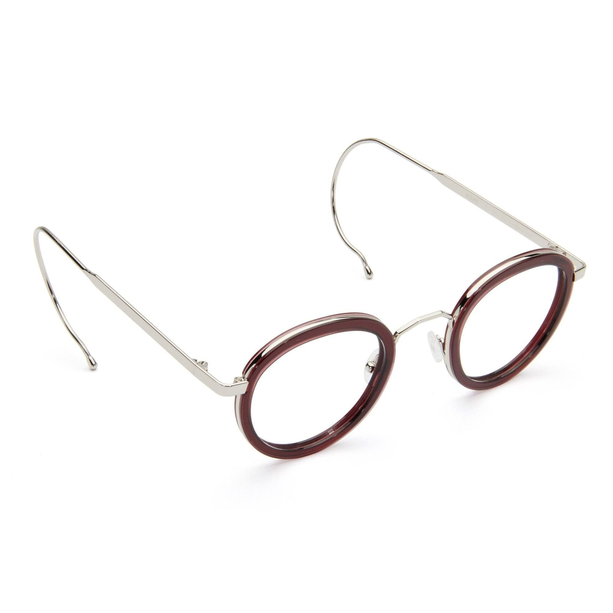 Burgundy Retro Vintage Round Circle Frame Eyeglasses Clear Lens Eye Glasses