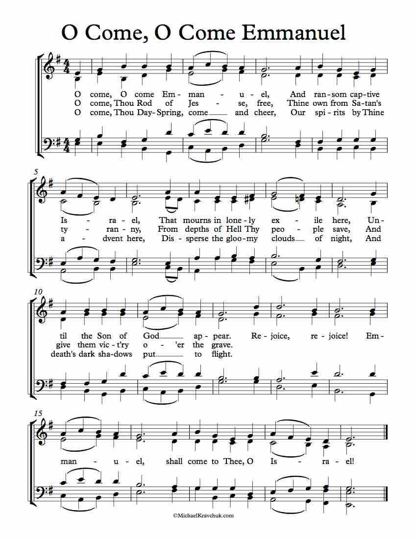 Free Choir Sheet Music O Come O Come Emmanuel Free Sheet Music