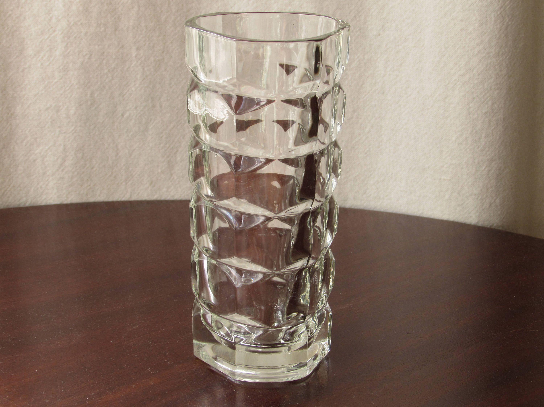 French Art Deco Vintage Glass Vase Made In France Heavy Glass Art Deco Style Geometric Triangular By Croweyedesig Glass Vase Art Deco Fashion Heavy Glass