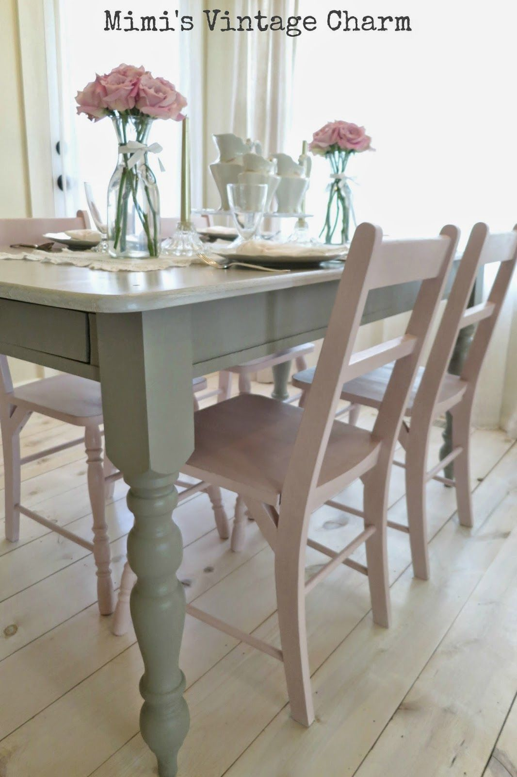 Vintage Dining Room Chairs Hanging Chair Hammock South Africa Antoinette French Linen Table Chalk Paint By