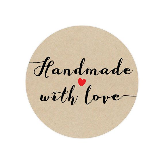 Handmade with love stickers circle stickers handmade with love store supplies kraft stickers custom stickers