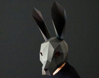 Rabbit Mask Template Paper Mask Papercraft Mask Masks 3d Etsy In 2021 Paper Mask Paper Mask Template Cardboard Mask