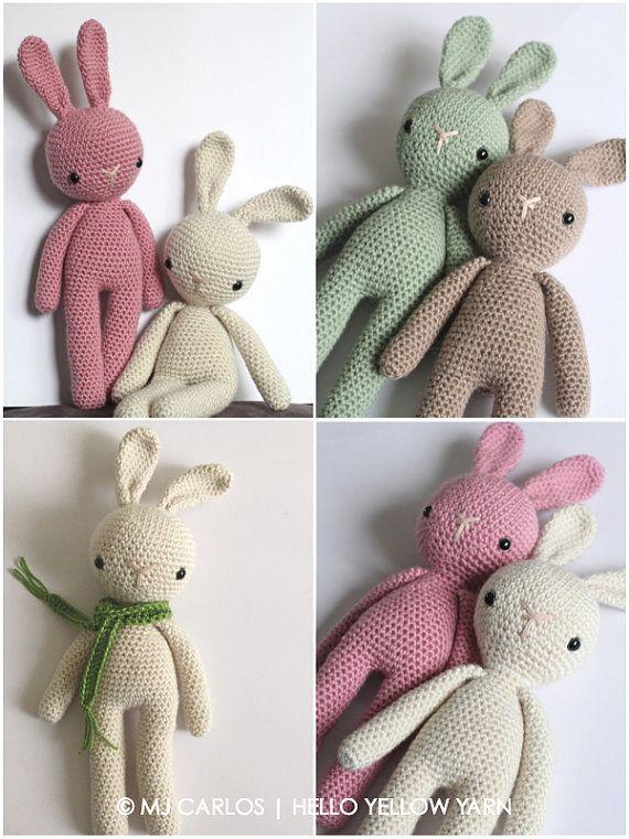Crochet Amigurumi Cute Bunny PATTERN ONLY von HelloYellowYarn ...