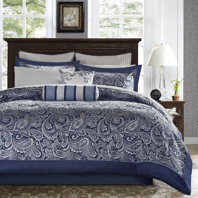 12 Piece Classic Jacquard Comforter Set Cal King Allover Motif Beautiful Paisley Leaf Pattern St Blue And White Comforter Cotton Comforter Set Comforter Sets