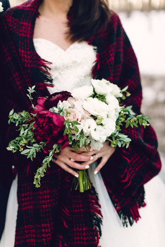 Lovely hand-tied rose and peony bouquet. Cozy winter wedding inspirations