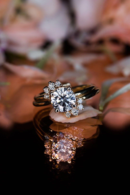 Double spray engagement ring unique diamond engagement