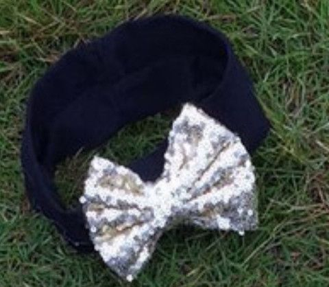 In Stock -Black and silver bow headband - Wholesale Boutique Deals