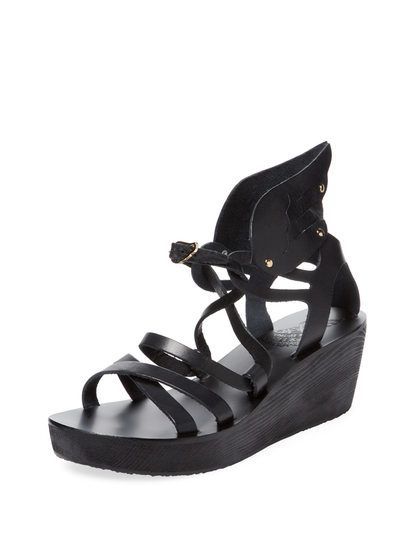 Nephele Leahter Wing Wedge by Ancient Greek Sandals at Gilt