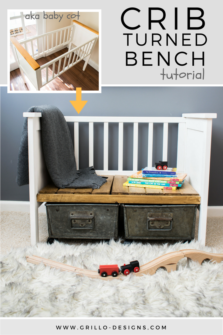 Repurposed Crib Turned Kids Bench   Muebles restaurados, Reciclaje y ...