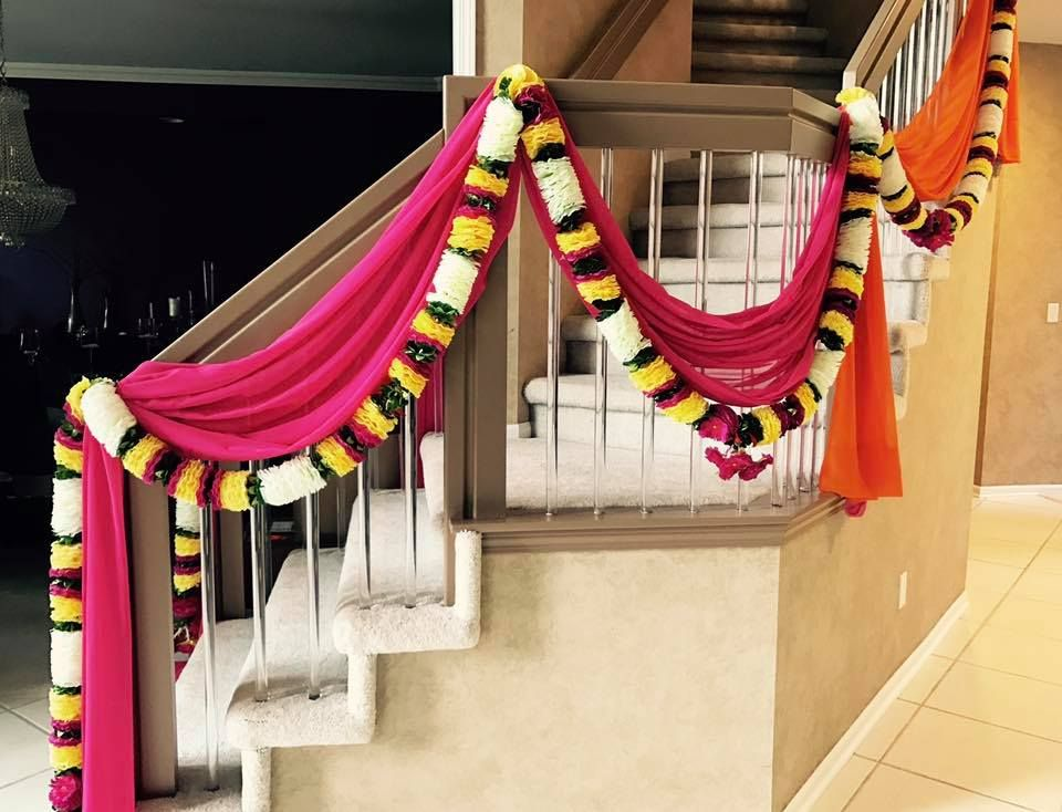 Home Décor For An Indian Wedding Home. Drapes And Flowers