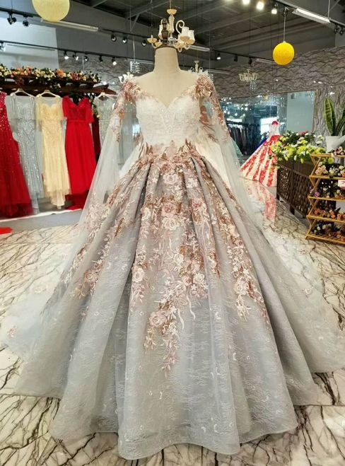 Gray Ball Gown Tulle Appliques V-neck Haute Coutur