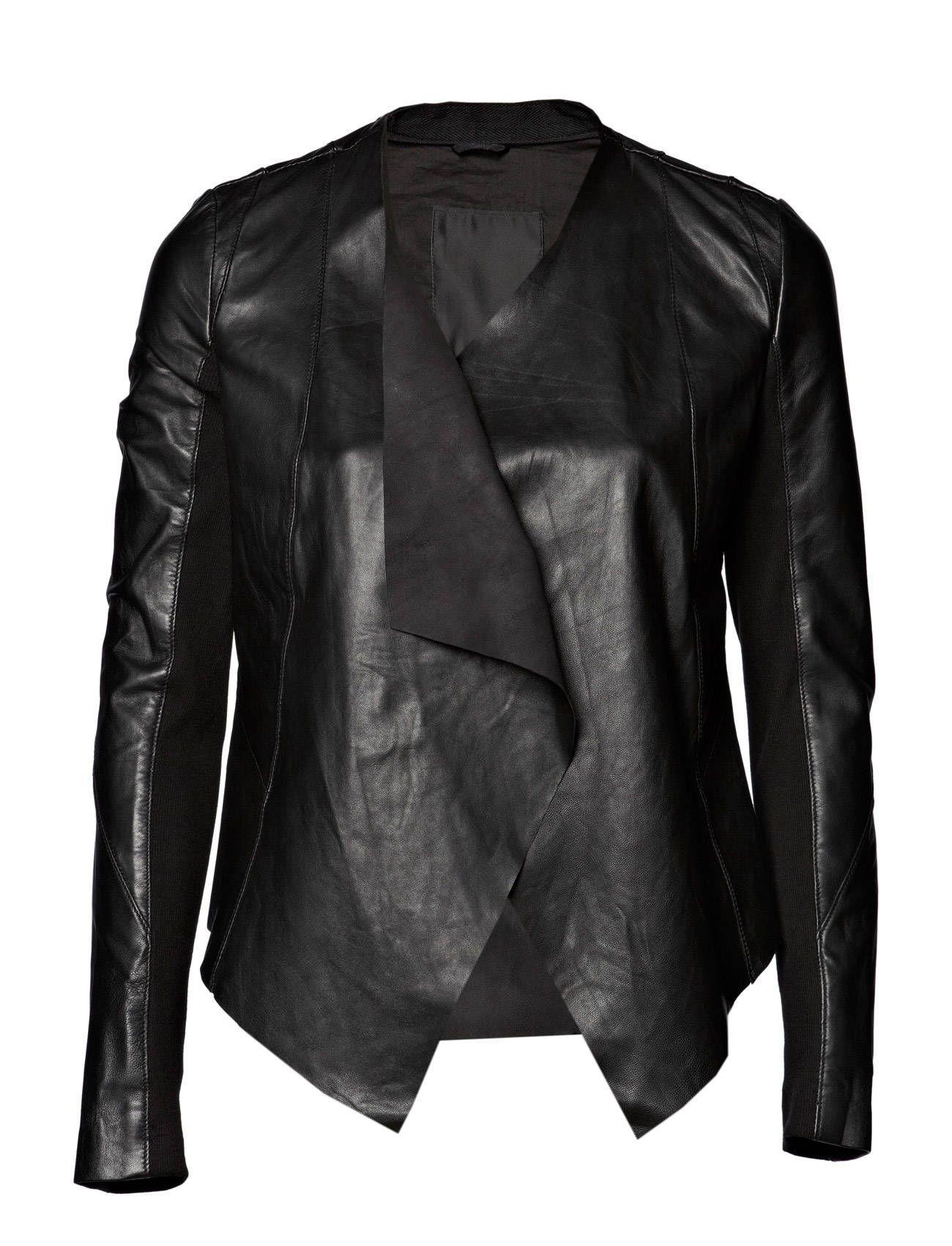 draped leather jacket by ICHI