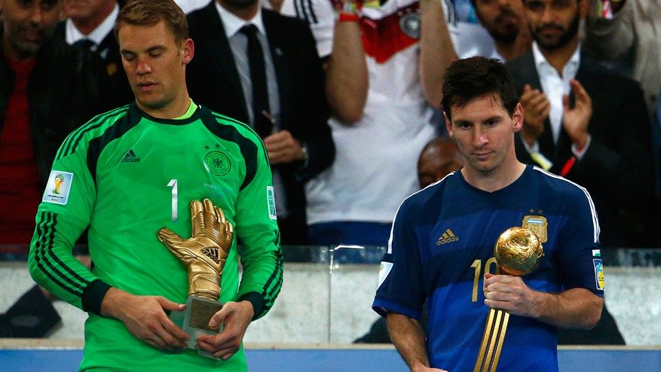 Manuel Neuer Of Germany Holds The Golden Glove Trophy As Lionel Messi Of Argentina Holds The Golden Ball Trophy Lionel Messi Fifa 2014 World Cup Messi