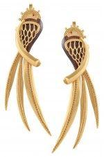 Tribebyamrapali-Gold Plated Panchi Earrings