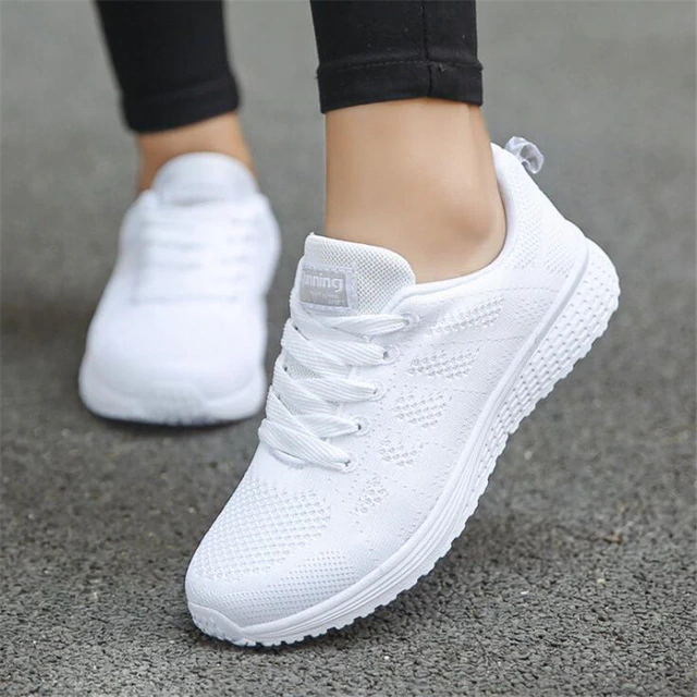 2019 Fashion Breathable Shoes Women Sneakers lace Walking Casual Wedges Shoes,White,36