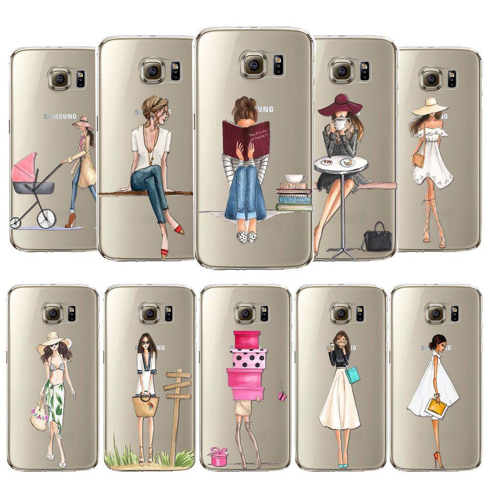 Phone case cover per samsung galaxy s5 s6 s6edge s6edgeplus s7 s7edge molle del silicone fashion shopping girl sacchetto del telefono mobile