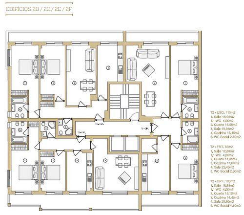 f7b0f02a9c5f6 Planta dos apartamentos dos Edifícios 2B   2C   2E   2F