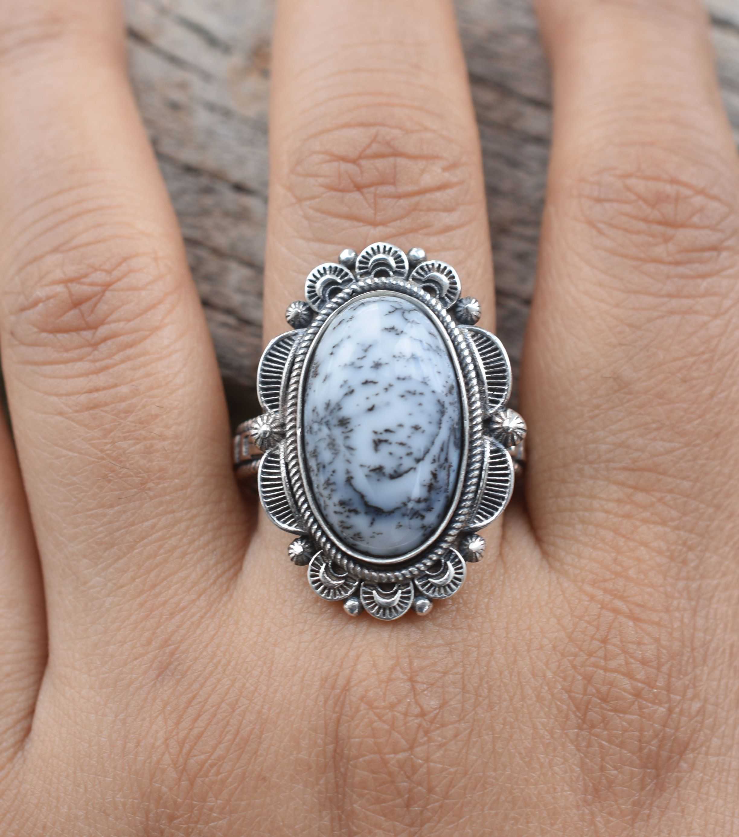 Christmas Silver Gift 925 Sterling Silver Ring,Dendritic Opal Silver Jewelry,Designer Handmade Ring Dendritic Opal Ring Handmade Ring