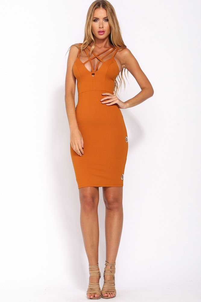HelloMolly | Cinema Club Dress Burnt Orange | Dresses ❤ Hello ...