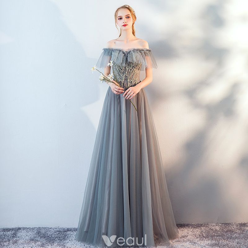 51dd95cdd3495 Modern / Fashion Grey Lace Flower Evening Dresses 2019 A-Line / Princess  Off-The-Shoulder Beading Short Sleeve Backless Floor-Length / Long Formal  Dresses
