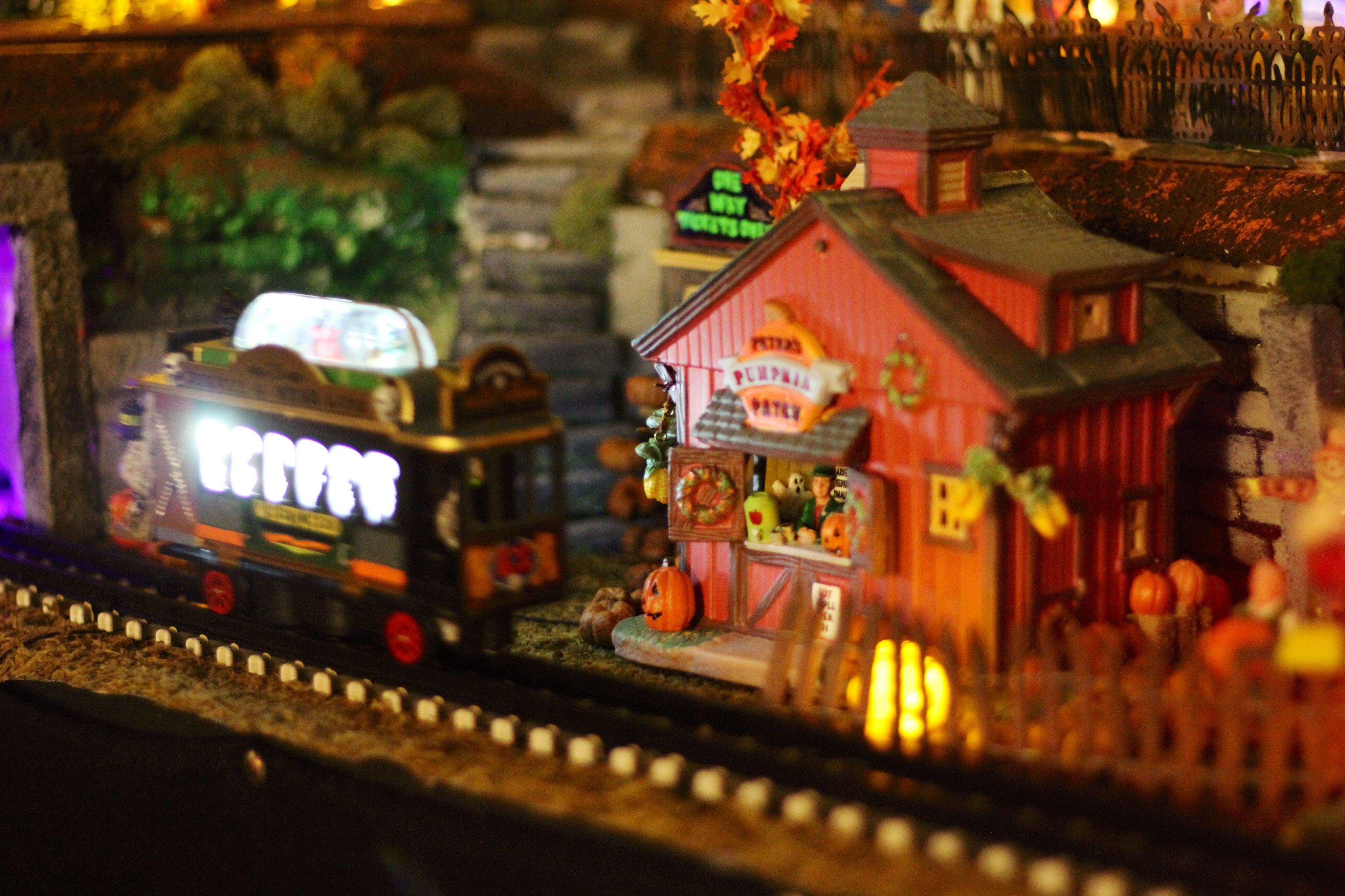 The trolley passes the pumpkin patch 2014 Spookytown