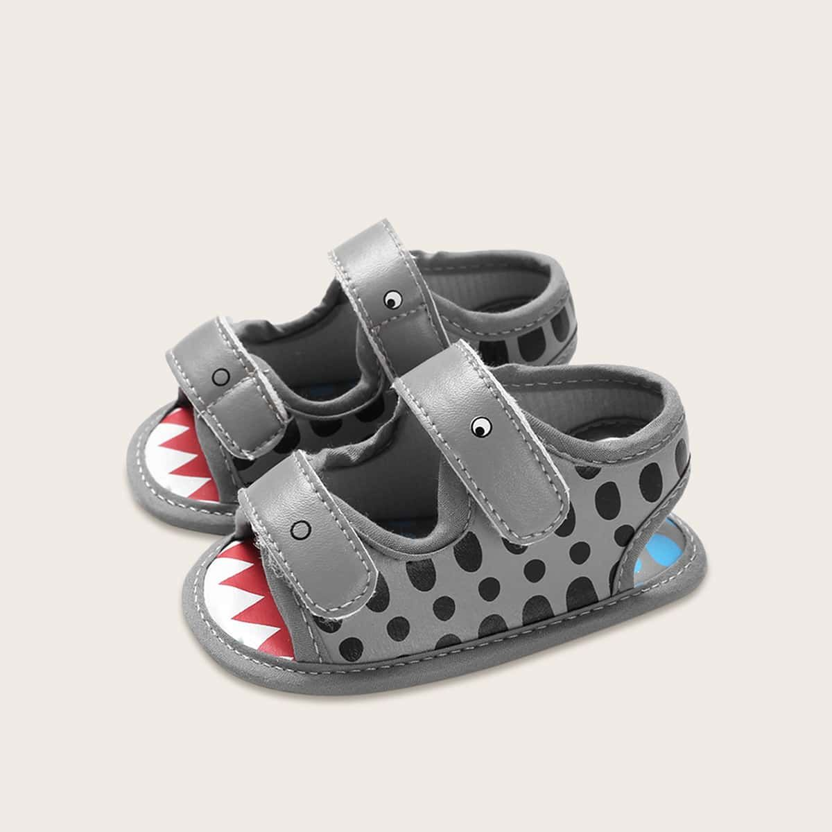 Baby Boy Cartoon Graphic Velcro Strap Sandals Grey Casual Cartoon Baby Sandals size features areBust Length Sleeve Length