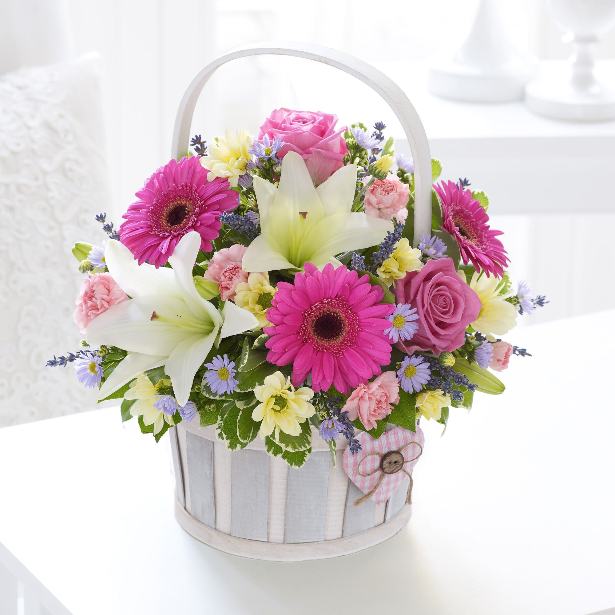New parents will love receiving this basket arrangement to