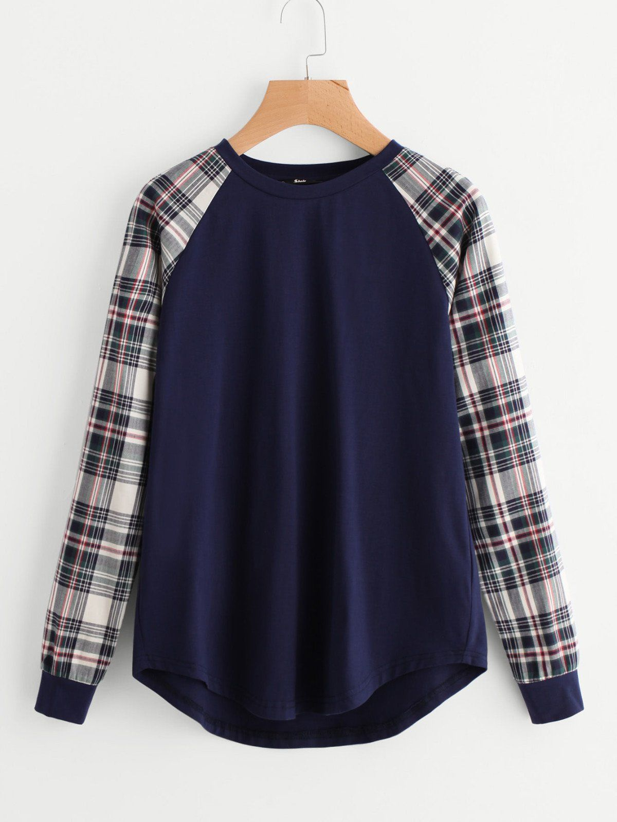 Flannel with shirt underneath  Contrast Check Raglan Sleeve Curved Hem Tee  Curves Check and