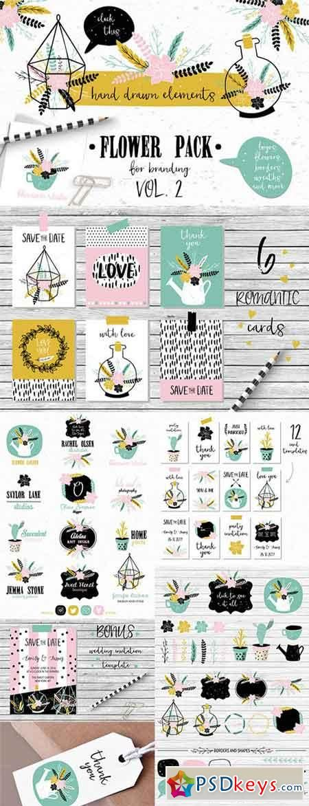 Flower Pack with succulents VOL 2 498836 | PSDkeys