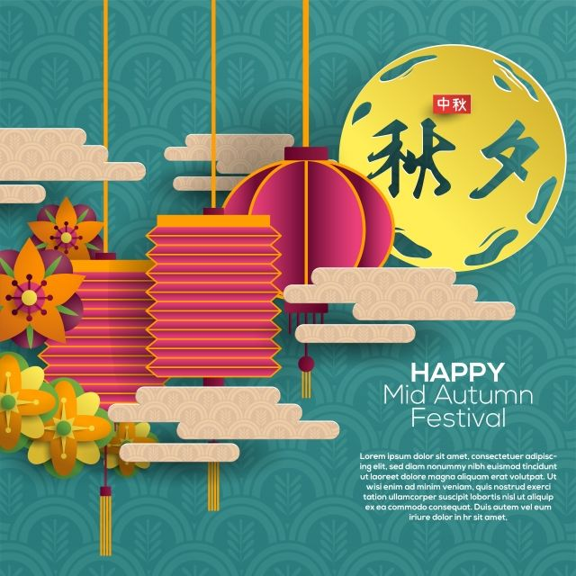 Happy Chuseok Greeting Card Happy Mid Autumn Festival Mid Autumn Festival Art Invitation