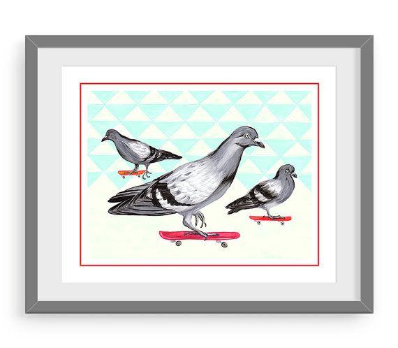 Affiche Pigeons En Planche A Roulettes Rouge 8 X 10 Et 11 X 14 Drawings Marker Drawing Pigeon