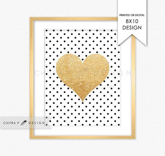 Gold Glitter Heart Wall Art - Printed or Printable, Black White ...