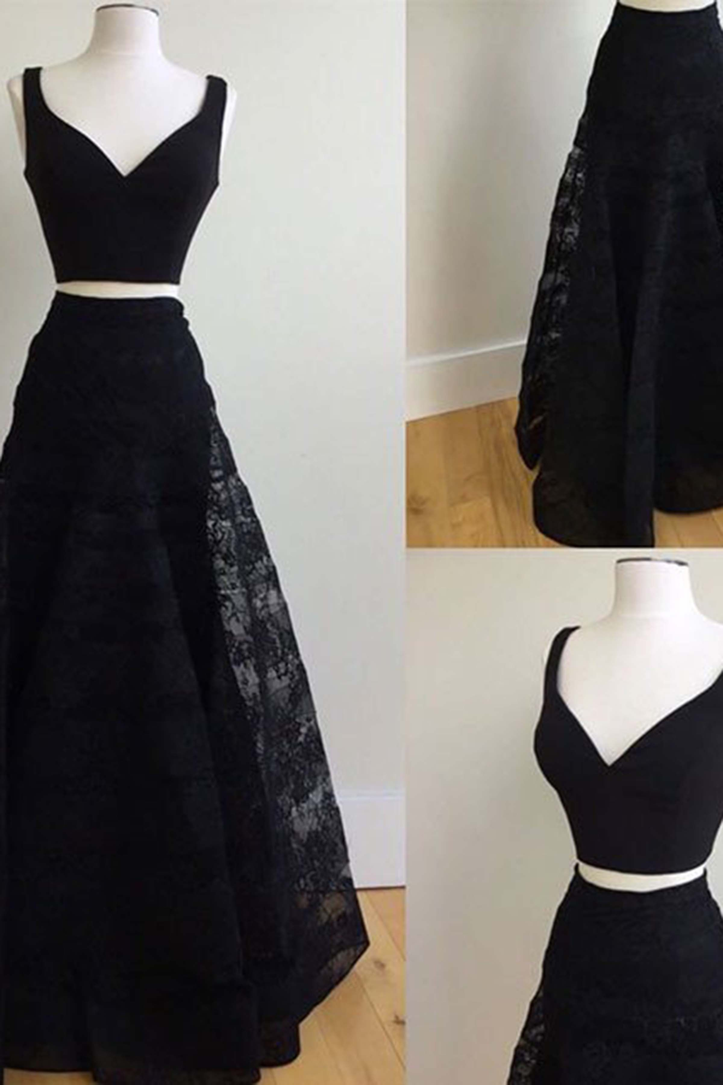 Cute black two pieces lace A-line two pieces long prom dress, black ...
