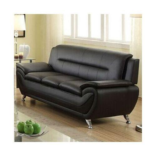 Stylish Living Room Modern Black Faux Leather Sofa Medium Firm
