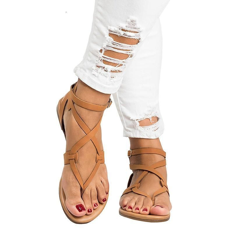 Details about  /New Roman Women Flat Lace Up Strap Real Leather Knee High Sandal Gladiator Shoes