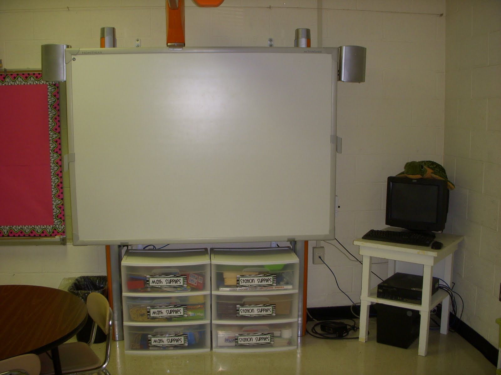 Put Drawers Under Smart Board To Hide Cords And Prevent Kids From Wiring Promethean Hitting Their Heads On The When Rug
