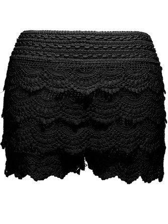 Girls Mini Lace Hem Tiered Slim Shorts