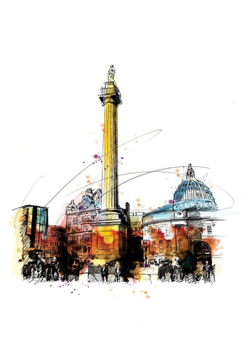 Grey S Monument Newcastle Whitley Bay Art Print Illustration