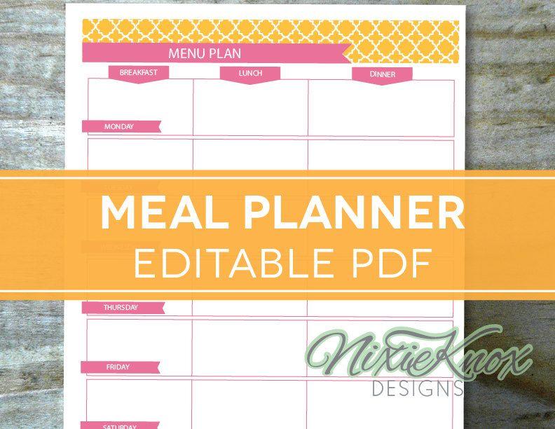 free printable menu planner - Pesquisa Google Planejando as